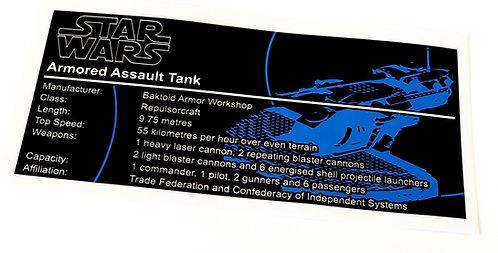 Lego Star Wars UCS / MOC Sticker for AAT (8018, 75080, Anio ST14)