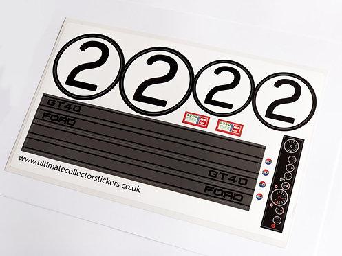 Lego Technic UCS / MOC Sticker for Ford GT40 (MOC-33807) - Black & Grey