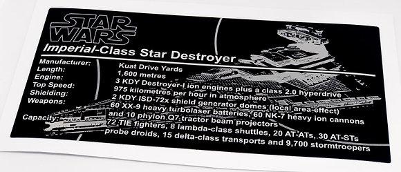 Lego Star Wars UCS Sticker for Imperial Star Destroyer (10030, 75252) - Metallic