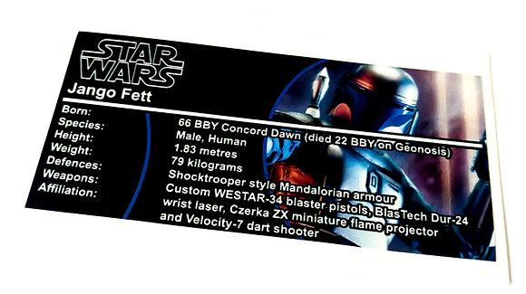 Lego Star Wars Buildable Figure Sticker for Jango Fett (75107)