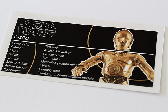 Lego Star Wars UCS / MOC Sticker for C-3PO (Anio ST16)