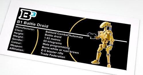 Lego Star Wars Figure Sticker for B1 Battle Droid (Build Better Bricks)