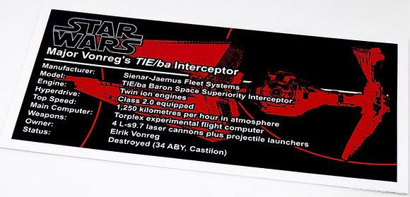 Lego Star Wars UCS / MOC Sticker for Major Vonreg's TIE Fighter 75240