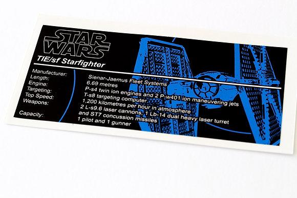 Lego Star Wars UCS Sticker for First Order Tie Fighter 75101