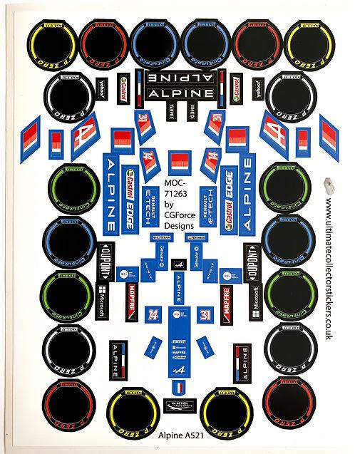 Lego Sticker Sheet for F1 Alpine A521 by LegoCG (MOC-71263)