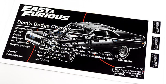 Lego Technic UCS / MOC Sticker for Dom's Dodge Charger 42111