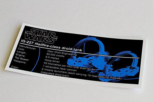 Lego Star Wars UCS / MOC Sticker for Hailfire Droid (4481 / 75085 / Anio ST18)