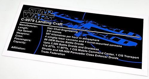 Lego Star Wars UCS / MOC Sticker for C-9979 Landing Craft (MOC-53766)