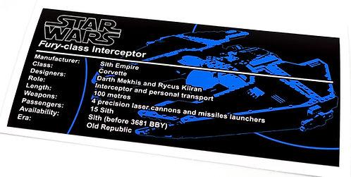 Lego Star Wars UCS / MOC Sticker for Sith Fury-Class Interceptor 9500