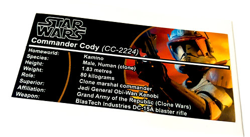 Lego Star Wars Buildable Figure Sticker for Clone Commander Cody (75108)