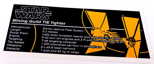 Lego Star Wars UCS / MOC Sticker for Mining Guild TIE Fighter