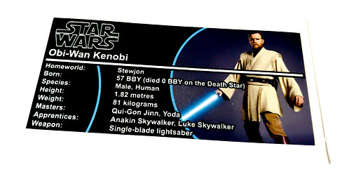 Lego Star Wars Buildable Figure Sticker for Obi-Wan Kenobi (75109)