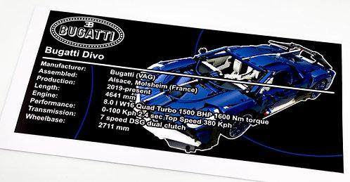 Lego Technic UCS Sticker for Bugatti Divo (MOC-33457) - Blue