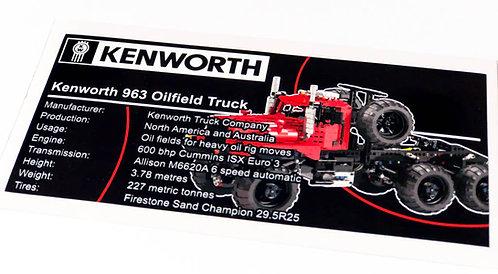 Lego Technic UCS / MOC Sticker for Kenworth 953 6x6 Oilfield Truck