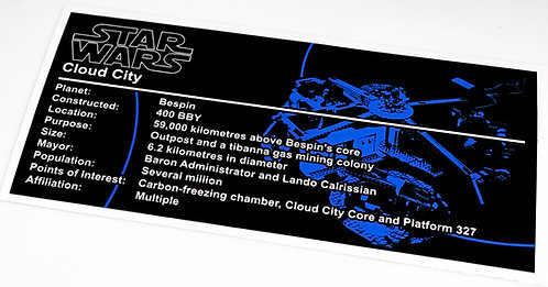 Lego Star Wars UCS / MOC Sticker for Cloud City 75222 (Blue)