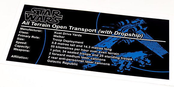 Lego Star Wars UCS Sticker for Republic Dropship with AT-OT Walker 10195