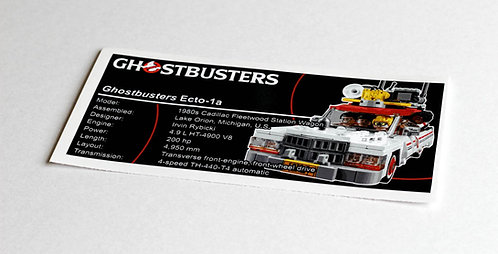 Lego Creator UCS Sticker for Ghostbusters Ecto-1 75828
