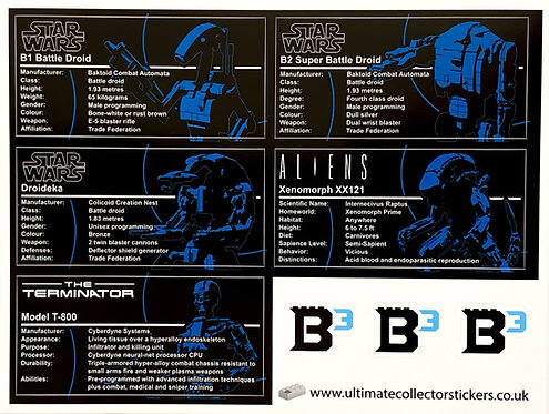 Lego Star Wars UCS / MOC Stickers for Build Better Bricks Figures (Pack 1)