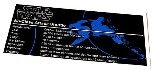 Lego Star Wars UCS / MOC Sticker for Nu-Class Republic Attack Shuttle