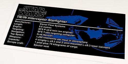 Lego Star Wars UCS Sticker for TIE Interceptor (6206 / 7181)