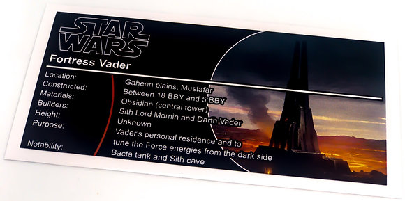 Lego Star Wars UCS / MOC Sticker for Darth Vader's Castle 75251