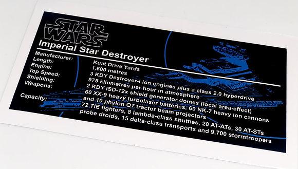 Lego Star Wars UCS Sticker for Imperial Star Destroyer (75055, 10030, 75252)