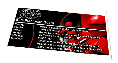 Lego Star Wars Buildable Figure Sticker for Elite Praetorian Guard (75529)