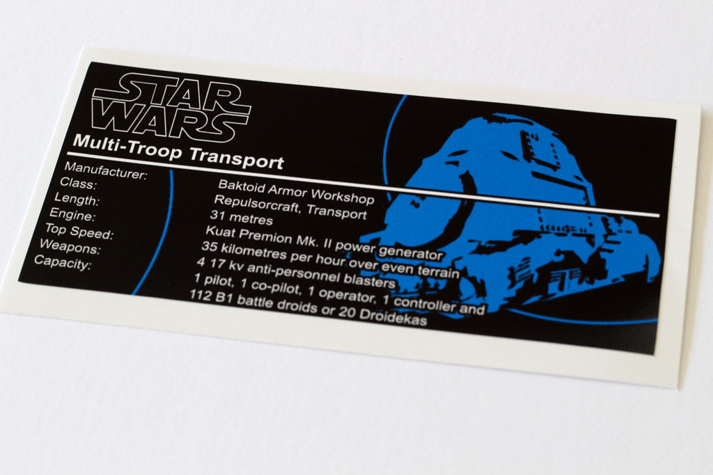Lego Star Wars UCS / MOC Sticker for MTT (7184 / 7662 / 75058)