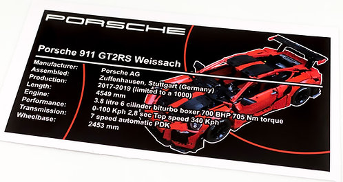 Lego Technic UCS Sticker for 911 GT2 RS