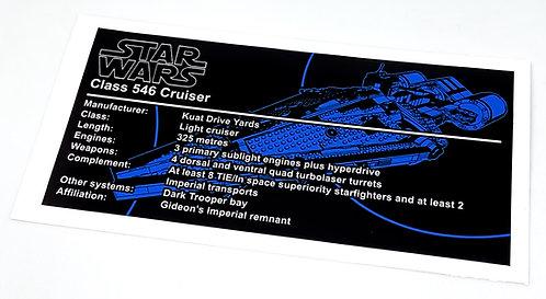 Lego Star Wars UCS Sticker for Imperial Light Cruiser 75315