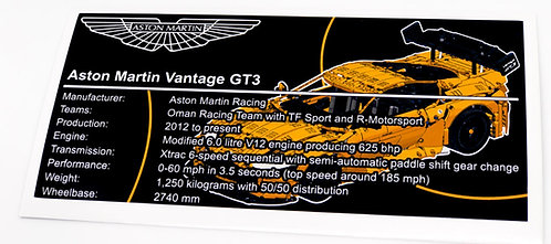 Lego Technic MOC Sticker for Aston Martin Vantage GT3 + Instructions