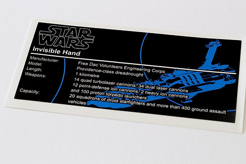 Lego Star Wars UCS / MOC Sticker for Anios Invisible Hand ST07