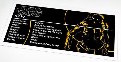 Lego Star Wars UCS / MOC Sticker for K-2SO (SB00401)