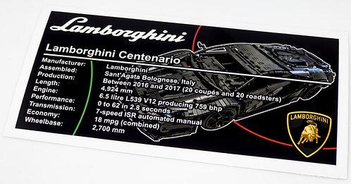 Lego Technic UCS / MOC Sticker for Lamborghini Centenario (MOC-12560)