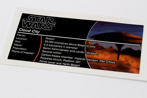 Lego Star Wars UCS / MOC Sticker for Cloud City 75222