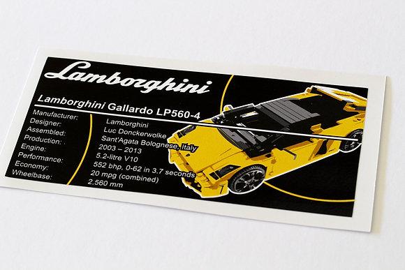 Lego Creator UCS Sticker for Lamborghini Gallardo LP 560-4 (8169)