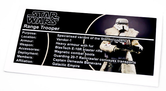 Lego Star Wars Buildable Figure Sticker for Range Trooper (75536)