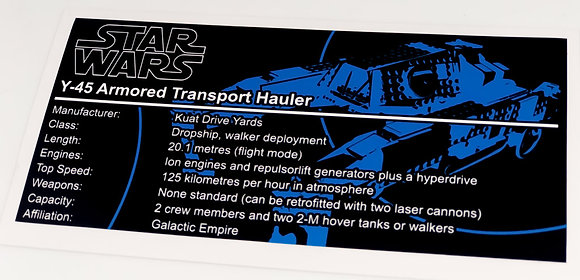 Lego Star Wars UCS / MOC Sticker for Imperial AT-Hauler 75219