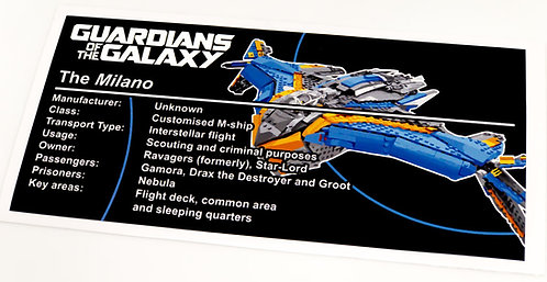Lego Guardians of The Galaxy UCS / MOC Sticker for Milano (76081 / 76021)