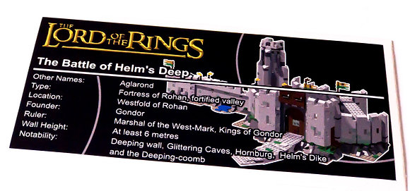 Lego The Lord of The Rings UCS Sticker for Battle of Helm's Deep 9474