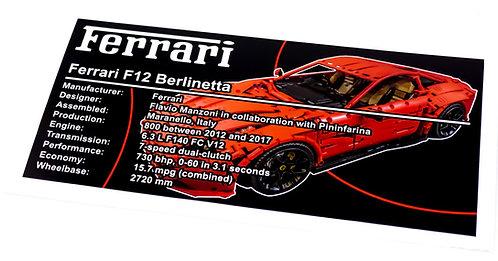 Lego Technic UCS / MOC Sticker for Ferrari F12 (MOC-41271)