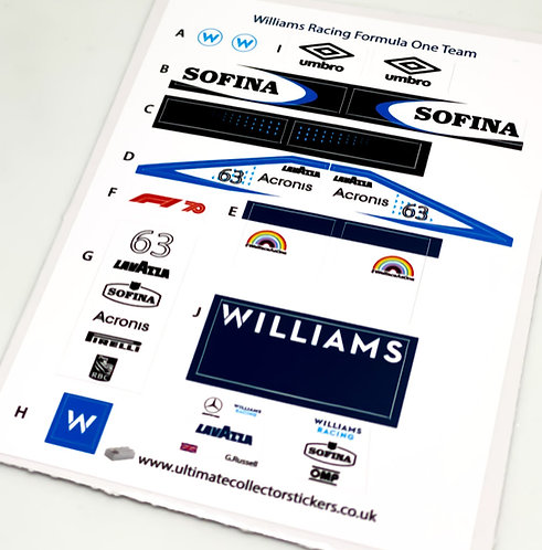 Lego Sticker Sheet for Speed Champions Williams Racing F1 Team