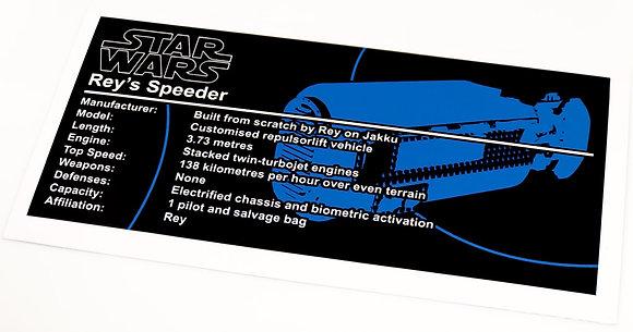 Lego Star Wars UCS Sticker for Rey's Speeder 75099