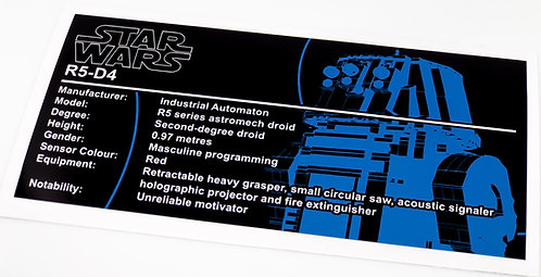 Lego Star Wars UCS / MOC Sticker for R5-D4