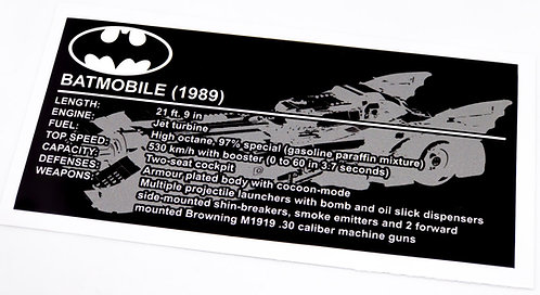 Lego Batman UCS Sticker for 1989 Batmobile 76139
