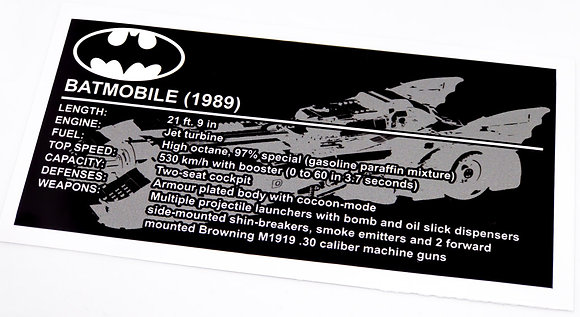Lego Batman UCS Sticker for 1989 Batmobile 76139