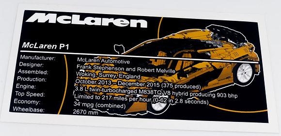 Lego Technic MOC Sticker for McLaren P1 Hypercar