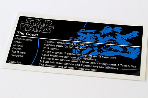 Lego Star Wars UCS Sticker for The Ghost 75053