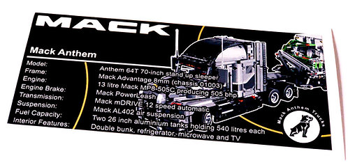 Lego Technic UCS / MOC Sticker for Mack Anthem 42078