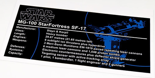 Lego Star Wars UCS Sticker for Resistance Bomber 75188